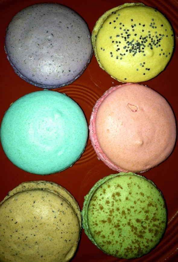 From top left to bottom right: Earl Grey with White Chocolate Ganache; Lemon; Vanilla Cream Cheese; Raspberry Dream; Espresso with Chocolate Ganache; Mint Chocolate