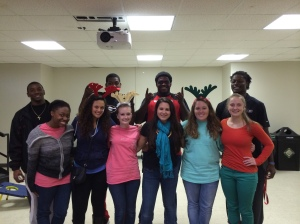 A few of the Gamma Sigs volunteered at a holiday party for children and got to meet some UGA football players