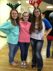 Me, Bekah, and Angela at Hillel's holiday party for children